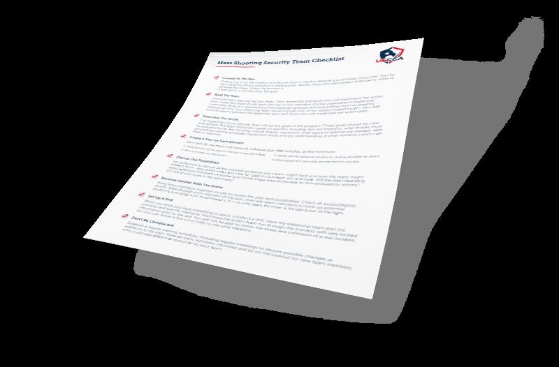 USCCA Mass Shooting Security Team Checklist